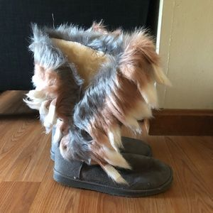 Furry Grey Boots